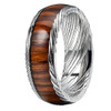 (8mm)  Unisex or Mens Real Damascus Steel Band. Silver Toned Domed Ring with Real Wood Inlay Wedding Band