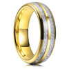 (6mm)  Unisex or Women's Tungsten Carbide Wedding ring band. Yellow Gold Double Line Inspired Meteorite Domed Tungsten Carbide Ring. Comfort Fit