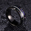 (8mm)  Unisex or Men's Tungsten Carbide Wedding ring bands. Black Tone Meteorite Ring with Multi Color Rainbow Opal Inlay Ring (Organic colors)