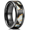 (8mm) Unisex, Men's or Women's Zirconium Steel Wedding ring bands. Black band with Mother of Pearl Inlaid Design (Titanium-Like Light Weight Fit).