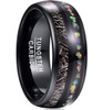 (8mm)  Unisex or Men's Tungsten Carbide Wedding ring bands. Black Meteorite Ring with Multi Color Rainbow Opal Inlay Ring (Organic colors)