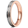 (4mm)  Women's Tungsten Carbide Wedding ring band. Hammered Brushed Silver Tungsten Carbide Ring with Rose Gold Interior and Stripe Design