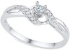 10KT White Gold Band - Diamond Wedding Engagement Ring / Promise Rings - Weaved Princess and Round Diamond Ring (0.13 CTTW)