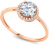 Diamond Engagement Ring for Women - 10K Rose Gold Round Sapphire and Diamond Wedding Band (1.42 cttw)