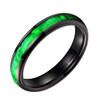 (4mm) Women's Tungsten Carbide Wedding Ring Band - Black Tone with Vibrant Green Inlay Ring.