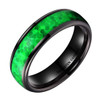 (6mm) Unisex, Men's or Women's Tungsten Carbide Wedding Ring Band - Black Tone with Vibrant Green Inlay Ring.
