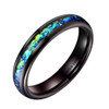 (4mm) Women's Tungsten Carbide Wedding Ring Band - Black Tone with Vibrant Blue and Green Inlay Ring.
