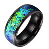 (8mm) Men's Tungsten Carbide Wedding Ring Band - Black Tone with Vibrant Blue and Green Inlay Ring.