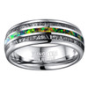 (8mm) Unisex or Men's Tungsten Carbide Wedding ring bands. Silver Meteorite Ring with Multi Color Green Opal Inlay (Organic colors)