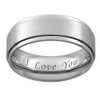 (8mm) Unisex, Women's or Men's Engraved I Love You Ring - Silver Tone Titanium Wedding Ring Band. Light Weight and Comfort fit.