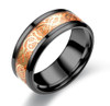 (8mm) Unisex or Men's Celtic Knot - Black Band with Orange Resin Inlay - Glowing Stainless Steel Wedding Ring Band.