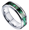(6mm) Unisex or Women's Green Malachite Inlay Tungsten Carbide Wedding ring band Ring. Silver Tone Tungsten Carbide Ring Comfort Fit.