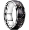 (8mm) Unisex or Men's Tungsten Carbide Wedding ring band. Silver Wedding ring band with Black and Silver Pyrite Inlay. Tungsten Carbide Ring