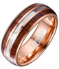 (8mm) Unisex, Men's or Women's Tungsten Carbide Wedding Ring Band - Rose Gold Plated with White Tone Mother of Pearl and Double Wood Inlay.