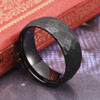 (8mm) Men's Black Hammered Finish Tungsten Carbide Wedding Ring Band with Domed Top Style