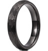 (4mm) Women's Black Hammered Finish Tungsten Carbide Wedding Ring Band with Domed Top Style