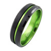 (6mm) Unisex or Women's Black and Green Groove Line Matte Finish Tungsten Carbide Wedding Ring Band with Beveled Edges