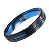 (4mm) Unisex or Women's Tungsten Carbide Wedding Ring Band. Black Matte Finish with Blue Inside and Groove Beveled Edge Ring.