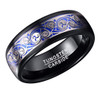 (8mm) Unisex or Men's Tungsten Carbide - Silver Wave Spirals Ring over Blue Inlay - Wedding Ring Band for Men