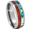 (8mm) Unisex, Women's or Men's Wedding Tungsten Carbide Wedding ring band. Silver Band with Rainbow Abalone Shell & Wood Inlay. Comfort Fit Brushed Tungsten Carbide Wedding Ring