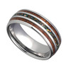 (8mm) Unisex or Men's Tungsten Carbide Wedding ring band - Silver Tone Wood and Rainbow Opal Inlay Ring.