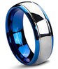 (8mm) Unisex or Men's Blue and Silver Dome Gunmetal Tungsten Carbide Wedding Ring Band