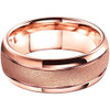 (8mm) Unisex or Men's Tungsten Carbide Wedding Ring Band. Rose Gold Domed Top Ring. Sand Blasted Glitter Design with High Polish Edges. Comfort Fit.