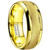 (8mm) Unisex or Men's Tungsten Carbide Wedding Ring Band. Yellow Gold Domed Top Ring. Sand Blasted Glitter Design with High Polish Edges. Comfort Fit.