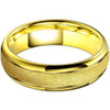 (6mm) Unisex or Women's Tungsten Carbide Wedding Ring Band. Yellow Gold Domed Top Ring. Sand Blasted Glitter Design with High Polish Edges. Comfort Fit.