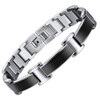 8.5 Inch Length - Men's Black and Silver Titanium Magnetic Bracelet - Duo-tone links