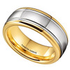 (8mm) Unisex or Men's Gold and Silver Dome Gunmetal Tungsten Carbide Wedding Ring Band