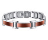 8.5 Inch Length - Men's Brown and Silver Titanium Magnetic Bracelet - Duo-tone links
