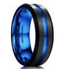 (7mm) Unisex or Men's Tungsten Carbide Wedding Ring Band. Black Matte Finish with Blue Inside and Groove Beveled Edge Ring.