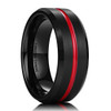 (8mm) Unisex or Men's Tungsten carbide Wedding ring band. Black and Red Grooved Matte Finish Ring with Beveled Edges.