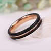 (4mm) Women's Black and Rose Gold Matte Finish Tungsten Carbide Wedding Ring Band. Grooved and Comfort Fit.