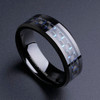 (8mm) Unisex or Men's Tungsten Carbide Wedding Ring Band. Black Ring with Blue and Black Carbon Fiber Inlay.