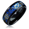 (8mm) Unisex or Men's Tungsten Carbide Wedding Ring Band. Vintage Black Band with Silver and Gold Watch Inlay Over Light Blue Carbon Fiber.