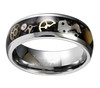 (8mm) Unisex or Men's Tungsten Carbide Wedding Ring Band. Vintage Silver Band with Silver and Gold Watch Inlay Over Black Carbon Fiber.