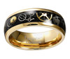 (8mm) Unisex or Men's Tungsten Carbide Wedding Ring Band. Vintage Gold Band with Silver and Gold Watch Inlay Over Black Carbon Fiber.