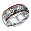 (8mm) Unisex or Men's Tungsten Carbide and Wood Wedding Ring Band. Silver Band with Silver and Wood Inlay with Watch Gear Inlay Design Over Black Carbon Fiber.