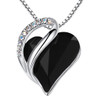 """Dark Black - Looped Heart Design Crystal Pendant and CZ stones - Spiritual Protection Stone with 18"""" Chain Necklace. Gift for Lover, Girl Friend, Wife, Valentine's Day Gift, Mother's Day, Anniversary Gift Heart Necklace."""
