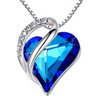 """Multiple Light and Dark Blue Shades Looped Heart Design Crystal Pendant and CZ stones - with 18"""" Chain Necklace. Gift for Lover, Girl Friend, Wife, Valentine's Day Gift, Mother's Day, Anniversary Gift Heart Necklace."""