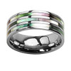 (8mm) Unisex or Men's Multi Color Rainbow Abalone Shell Inlay Titanium Wedding Ring Bands. Light Weight Triple Line Ring - Silver Tone with Organic colors.