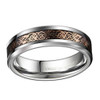 (6mm) Unisex or Women's Tungsten Carbide Wedding Ring Band. Silver Celtic Knot Ring with with Rose Gold Resin Inlay.