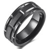 (8mm) Unisex or Men's Tungsten Carbide Wedding Ring Band. Black Brick Pattern Comfort Fit Grooved Ring.