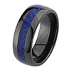 (8mm) Unisex or Men's Ceramic Wedding Ring Bands. Black Ring with Blue Carbon Fiber Inlay.