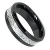 (8mm) Unisex, Women's or Men's Tungsten Carbide Wedding Ring Band. Black Band with Inspired Meteorite Domed Top. Comfort Fit.