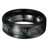 (8mm) Unisex or Men's Tungsten Carbide Wedding Ring Band. Black Ring with Green Carbon Fiber Inlay.