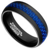 (8mm) Unisex or Men's Tungsten Carbide Wedding Ring Band. Black Band with Blue Carbon Fiber Inlay.