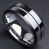 (8mm) Unisex or Men's Black Polished Finish Ring with Silver Tone Edges. Tungsten Carbide Wedding Ring Bands. Grooved and Comfort Fit.